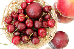 Juicy ripe cherries. Juicy ripe cherry and Apple Royalty Free Stock Photography