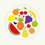 Juicy ripe fruit and berry set. Banana cherry strawberry orange pineapple grape lemon cherry  watermellon blueberry pear raspberry Royalty Free Stock Image