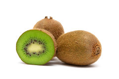 Juicy ripe kiwi closeup on a white background Stock Image