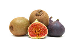 Juicy ripe kiwi and figs closeup on white background Royalty Free Stock Photo