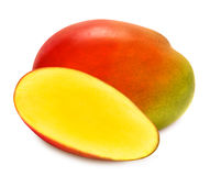 Juicy ripe mango slices isolated Royalty Free Stock Photo