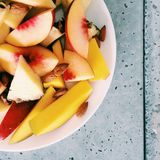 juicy ripe peach - fresh fruits and healthy eating styled concept stock photography