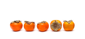 Juicy ripe persimmon isolated on white background Royalty Free Stock Images