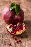 Juicy ripe pomegranate and grains Stock Photos