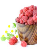 Juicy ripe raspberries with mint leaves Royalty Free Stock Photography