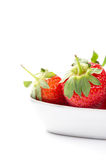 Juicy ripe red home grown strawberries in a bowl Royalty Free Stock Images