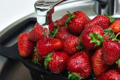 Juicy ripe red strawberry in a plate. Juicy ripe red strawberries in a plate in the kitchen Royalty Free Stock Image
