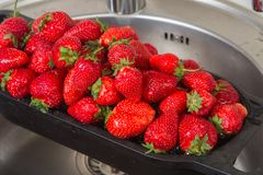 Juicy ripe red strawberry in a plate. Juicy ripe red strawberries in a plate in the kitchen Royalty Free Stock Photo