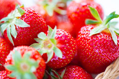 Juicy ripe strawberries in basket Stock Image