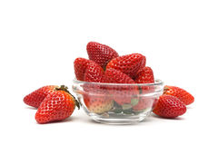Juicy ripe strawberries isolated on white background close-up Royalty Free Stock Photos