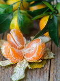 Juicy ripe tangerines with leaves on the table. Mandarin Royalty Free Stock Photography