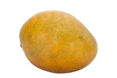 Juicy Ripe Yellow Mango with Speckled Skin Stock Images