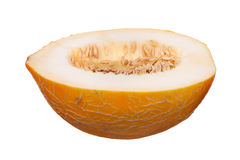 Juicy ripe yellow melon on a white background Stock Photography