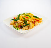 Juicy roasted chicken with pasta and vegetables Royalty Free Stock Images