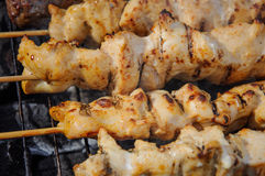 Juicy roasted kebabs and  on the BBQ Stock Image