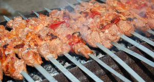 Juicy roasted shish kebabs Stock Image