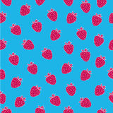Juicy seamless pattern with fuchsia strawberries on blue backgroun. Can be used in your project or printing Royalty Free Stock Photos