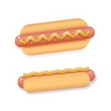 Juicy and shiny vector cartoon hot dog Royalty Free Stock Image