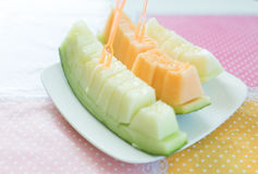 Juicy slice cantaloupe melon Royalty Free Stock Photography