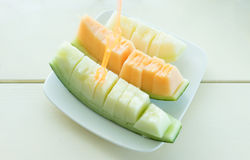 Juicy slice cantaloupe melon Royalty Free Stock Photos