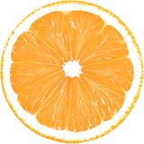 Juicy slice of orange isolated on a white background with clipping path. Stock Photos
