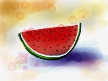 Juicy slice of ripe watermelon  in watercolor Stock Photo