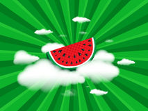 Juicy slice of watermelon on white clouds on background radial speed lines from rays, stripes green color. Concept of Hello Summer. Fruit abstract background royalty free illustration