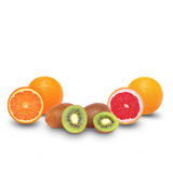 Juicy sliced fruits - orange, kiwi and grapefruit Royalty Free Stock Photos