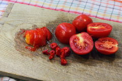 Juicy sliced tomatoes Stock Images
