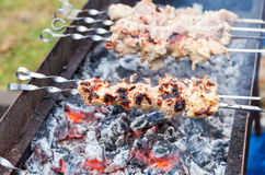 Juicy slices of meat prepare on coals Stock Photos