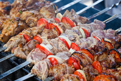 Juicy slices of meat  prepare on fire Royalty Free Stock Photo