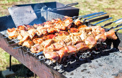 Juicy slices of meat with sauce prepare on the coals Royalty Free Stock Image