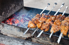 Juicy slices of meat with sauce prepare on fire. (shish kebab stock photo