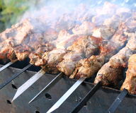 Juicy slices of meat with sauce prepare on fire. Close-up stock photo