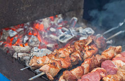 Juicy slices of meat  prepare on fire Stock Photo