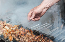 Juicy slices of meat with sauce prepare on fire. Shish kebab in process of cooking on open fire outdoors Royalty Free Stock Photo