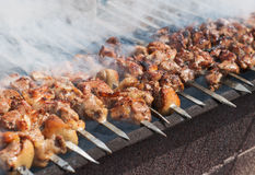Juicy slices of meat with sauce prepare on fire. Shish kebab in process of cooking on open fire outdoors Royalty Free Stock Photos