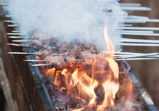 Juicy slices of meat with sauce prepare on fire. Shish kebab in process of cooking on open fire outdoors Royalty Free Stock Image