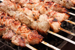 Juicy Slices Of Meat With Sauce Prepare On Fire (Shish Kebab, Sh. Shish Kebab In Process Of Cooking On Open Fire Outdoors (Shish Kebab, Shashlik Royalty Free Stock Photography