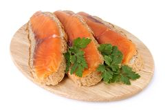 Juicy snack from slices salmon. Juicy snack from slices salty salmon and crispbread Royalty Free Stock Photo