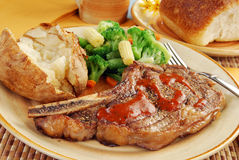 Juicy steak dinner Stock Images