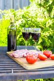 Juicy steak, vegetables and bottle of wine on a picnic outdoors Royalty Free Stock Photography