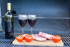Juicy steak, vegetables and bottle of wine on a picnic outdoors Stock Image