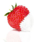 Juicy strawberries with cream on the white background Royalty Free Stock Image