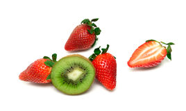 Juicy strawberries and kiwi on a white background Stock Images