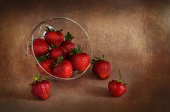 Juicy strawberries in a vase. Still-life with strawberries. Stock Photo