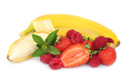 Juicy strawberry with banana Stock Photos