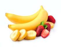 Juicy strawberry with bananas Royalty Free Stock Photos
