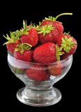 Juicy strawberry glass bowl Stock Images