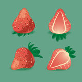 Juicy strawberry on green. Royalty Free Stock Images